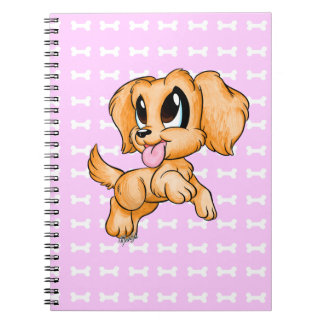 Cute Hand Drawn Golden Retriever Dog Pink Notebook