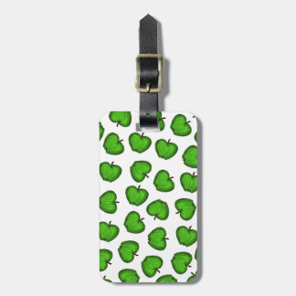 Cute Hand Drawn Green Fruity Apples Pattern Luggage Tag