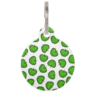 Cute Hand Drawn Green Fruity Apples Pattern Pet Tag
