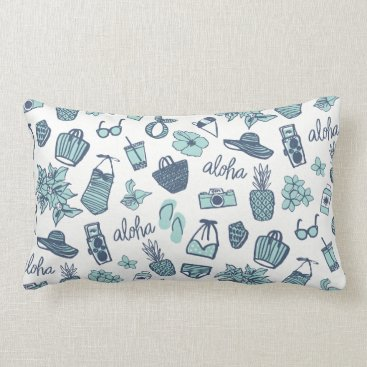 Beach Themed Cute Hand-drawn Hawaiian Pillow