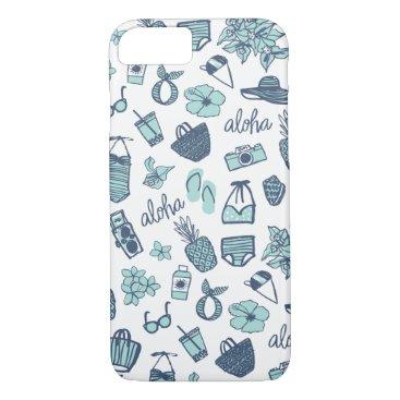 Beach Themed Cute Hand-Drawn Hawaiian Teal and Navy Phone Case