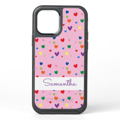 Cute Hand Drawn Hearts Pink iPhone Cover