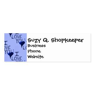 Cute Hand Drawn I Love You Heart Blue Pattern Mini Business Card