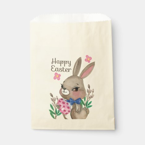 Cute hand drawn Miss Easter bunny and eggs Favor Bag