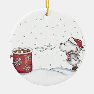 Cute hand drawn mouse design for Christmas Ceramic Ornament
