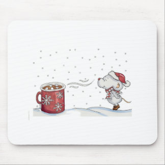 Cute hand drawn mouse design for Christmas Mousepad