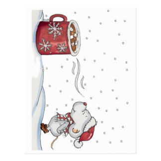 Cute hand drawn mouse design for Christmas Postcard