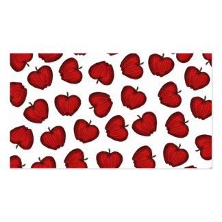Cute Hand Drawn Red Fruity Apples Pattern Business Card