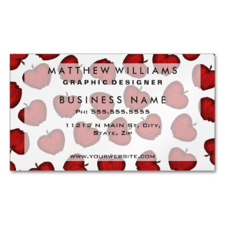 Cute Hand Drawn Red Fruity Apples Pattern Magnetic Business Card