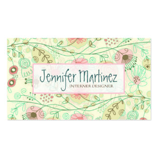 Cute Hand Drawn Retro Flowers Green & Beige Double-Sided Standard Business Cards (Pack Of 100)