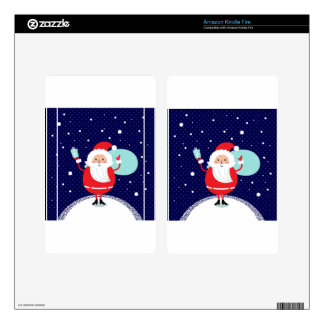 Cute hand-drawn Santa edition Decals For Kindle Fire