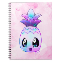 Cute Hand Drawn Tropical Purple Pineapple Notebook