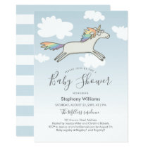 Cute Hand Drawn Unicorn Rainbow Baby Shower Invite