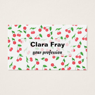 cute hand drawn watercolor cherry pattern business card
