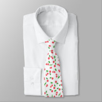 cute hand drawn watercolor cherry pattern tie