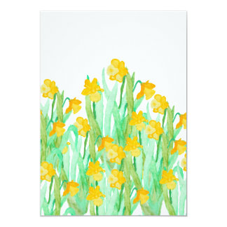 Cute hand drawn yellow watercolor daffodil card