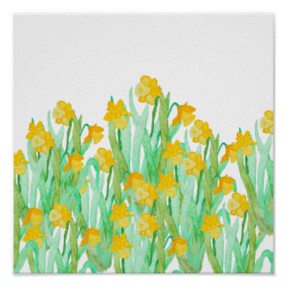 Cute hand drawn yellow watercolor daffodil poster