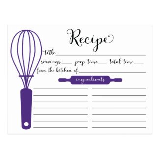Cute Hand Lettered Purple Whisk Recipe Card