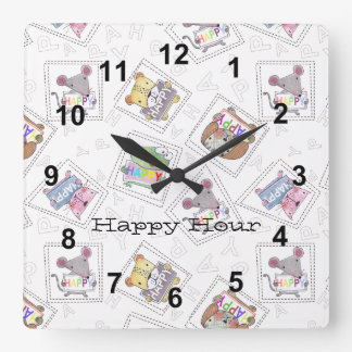 Cute hand painted animals-Happy Hour Personalize Square Wall Clock