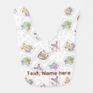Cute hand painted animals holding a sign board baby bib