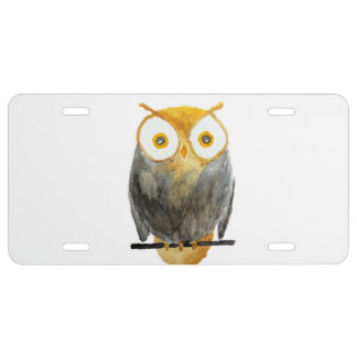 Cute hand painted black yellow watercolor owl license plate