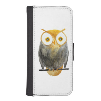 Cute hand painted black yellow watercolor owl wallet phone case for iPhone SE/5/5s