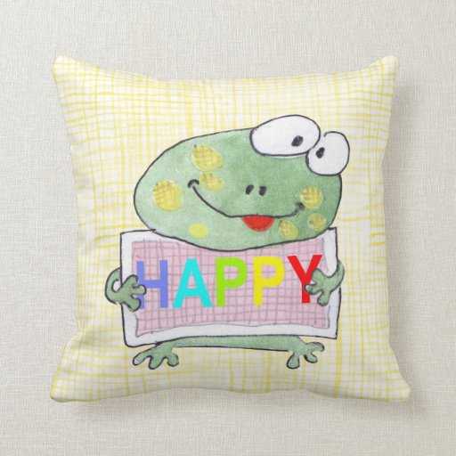 Cute hand painted frog pillow zazzle for Hand painted pillows