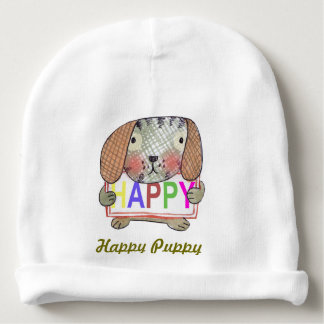 cute hand painted puppy holding a HAPPY sign board Baby Beanie