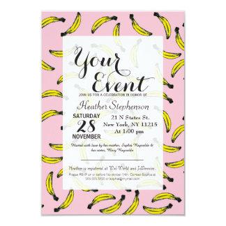 Cute Hand Painted Watercolor Bananas and Pink Card