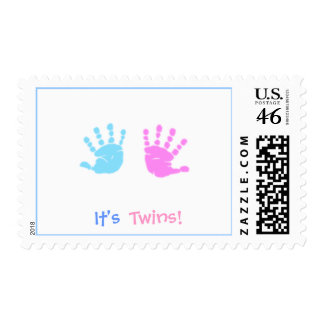 cute hand prints It s Twins - Customized Postage Stamp