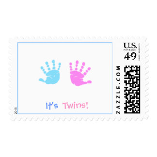 cute hand prints, It's , Twins! - Customized Postage Stamp