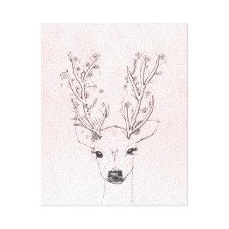 Cute handdrawn floral deer antlers pink watercolor canvas print