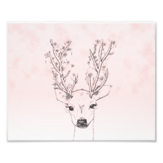 Cute handdrawn floral deer antlers pink watercolor photo print