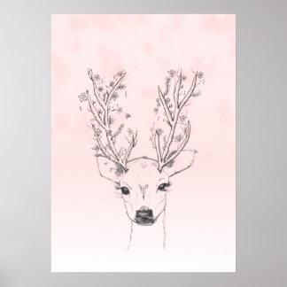 Cute handdrawn floral deer antlers pink watercolor poster