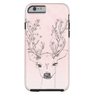 Cute handdrawn floral deer antlers pink watercolor tough iPhone 6 case