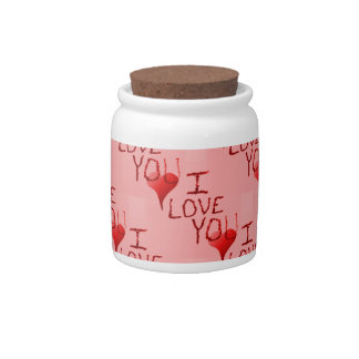 Cute Handdrawn I Love You Heart Valentine's Day Candy Dish