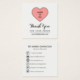 Cute Handmade Label Tag Social Media Business Card