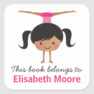 Cute handstand gymnast girl cartoon bookplate book