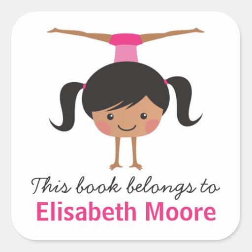 Cute handstand gymnast girl cartoon bookplate book square stickers