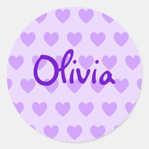 Cute Handwriting Style Personalized Purple Hearts Classic Round Sticker