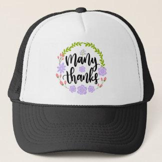 Cute handwritten floral typography Many Thanks Trucker Hat