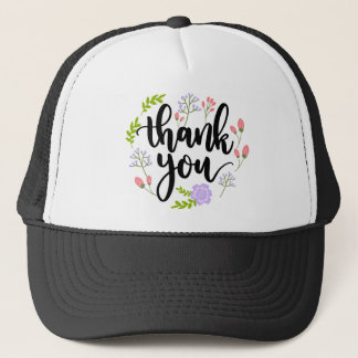 Cute handwritten floral typography Thank you Trucker Hat