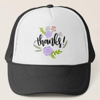 Cute handwritten floral typography Thanks Trucker Hat