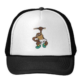 cute hanging baby monkey trucker hat