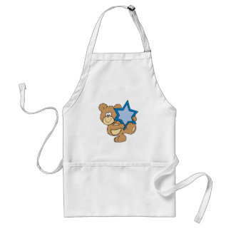 cute hanukkah teddy bear holding star of david adult apron