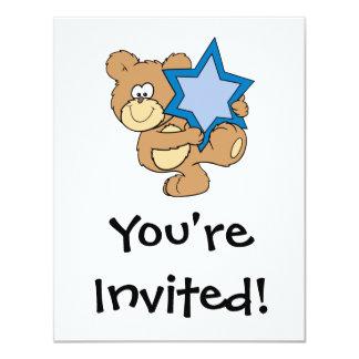 cute hanukkah teddy bear holding star of david card