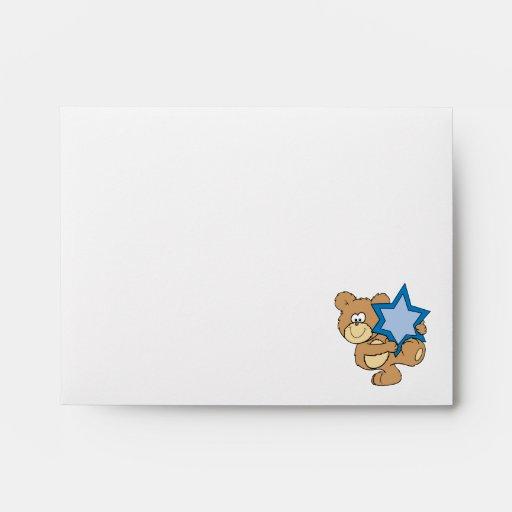 cute hanukkah teddy bear holding star of david envelope