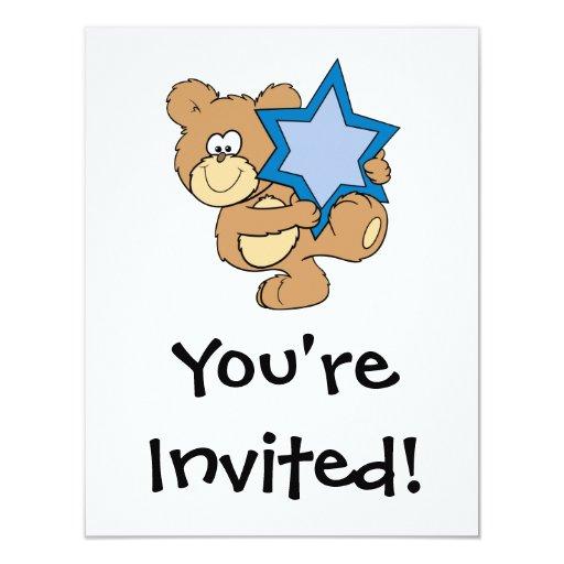 cute hanukkah teddy bear holding star of david 4.25x5.5 paper invitation card