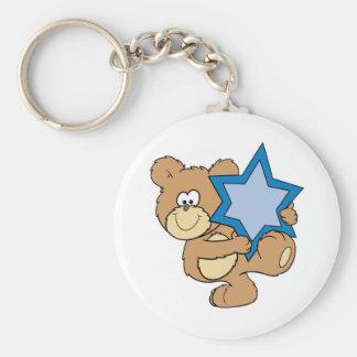 cute hanukkah teddy bear holding star of david keychain