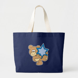 cute hanukkah teddy bear holding star of david large tote bag